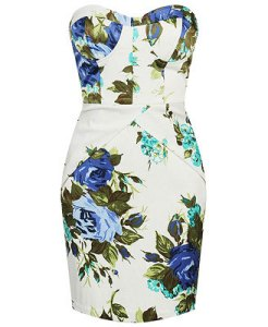 Floral Satin Bustier Dress $29.80
