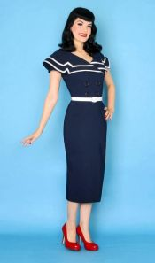 Bettie Page Clothing's Captain Pencil Dress, $179.99 at Hells Belles